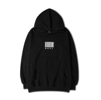 Hoodie Sweatshirt for Men with Barcode and NWOL Print on Front