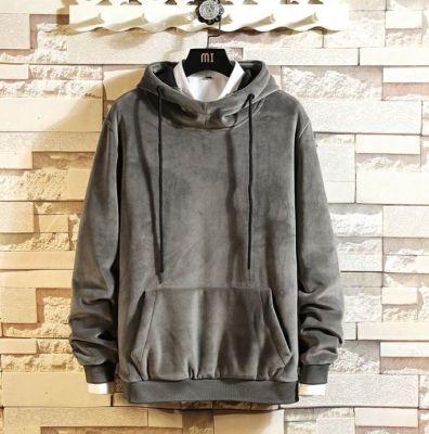 Grey velours hoodie sweatshirt velvet jumper for men