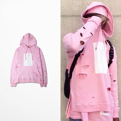 Pink Hoodie for Men with Ripped Holes and White Square Hooded Sweatshirt