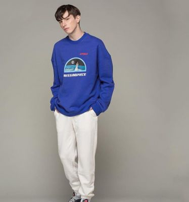 Oversize Sweater for Men Women with Space Agency Print