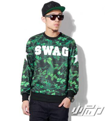 Leaf Print Swag Sweater for Men with Number 8 Back