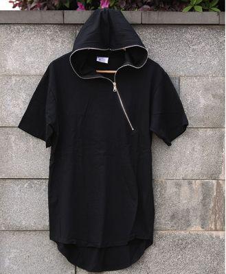 Hooded Short Sleeve T-shirt for Men with Diagonal zip collar