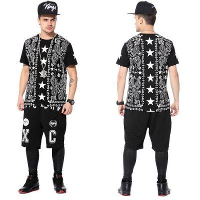 Bandana Print Paisley Stars Columns Streetwear T shirt for Men