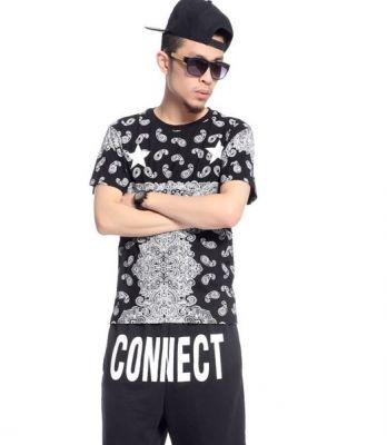 Bandana and Stars Print T shirt for Men Women Hip Hop Streetwear