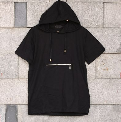Hooded short sleeve T-shirt for Men with Front zip pocket