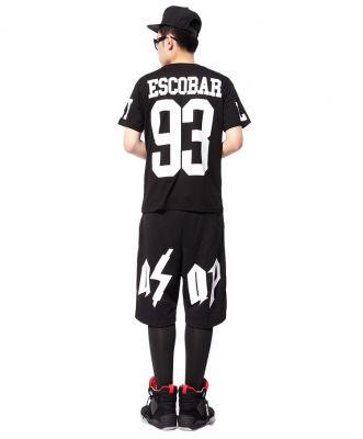 Escobar 93 T shirt Live Fast White Print on Black Swag