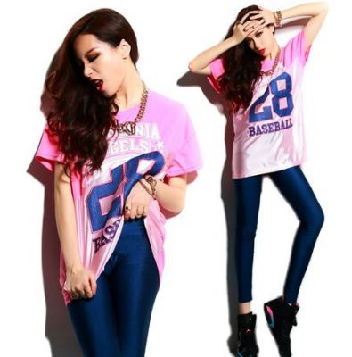 Loose Baseball Style T shirt for Women with Half Cut