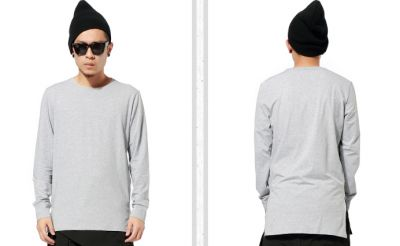 Long T shirt for Men with Oversized Back Long Sleeves