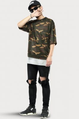 Oversize Camouflage t-shirt for Men and Women Short Sleeves