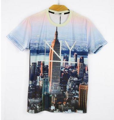 Slim Fit T-shirt with New York Skyline Manhattan Skyscrapers