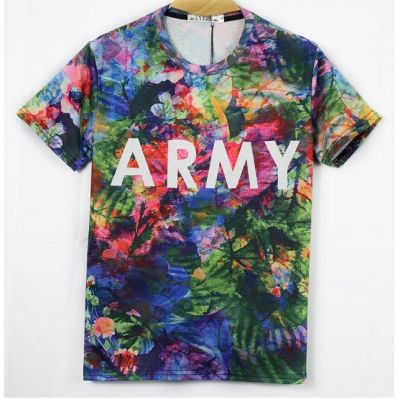 Stretch T-shirt with Multicolor Flower Print and ARMY front - Slim fit