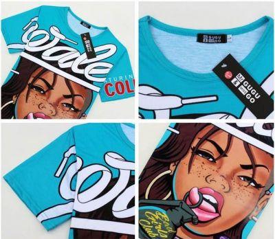 Wale Bad Girls Club T Shirt Sky Blue Cartoon Design Hip Hop Tee