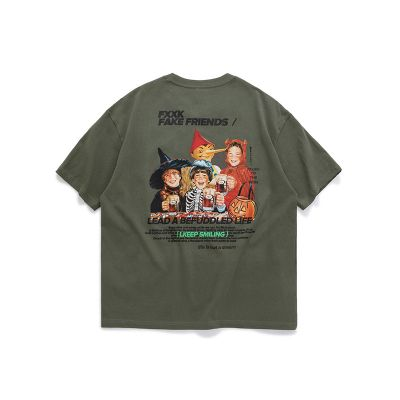 T-shirt short sleeve cartoon printed for men.