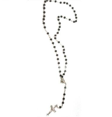 Chapelet Necklace with Crucifix Rosary Beads Black Pearls Silver Cross