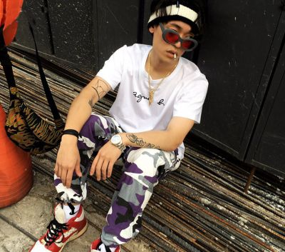 Camouflage jogger pants for men fluo pink yellow orange camo trousers