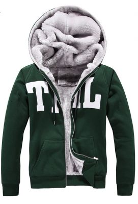 Zip Up Hoodie for Men with Inside Fur and THL Block Letter Print