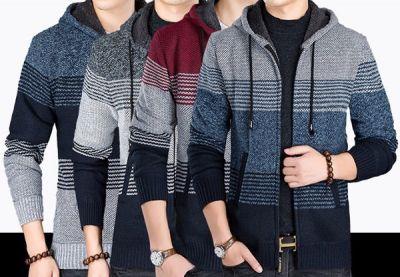 Winter Fur lined wool hoodie for men with stripe variations