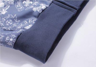 Hooded Winter Zip Thru Hoodie for Men with Baroque Flower Print