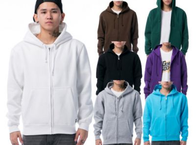 Plain Colored Zip Up Hoodie for Men - Cotton
