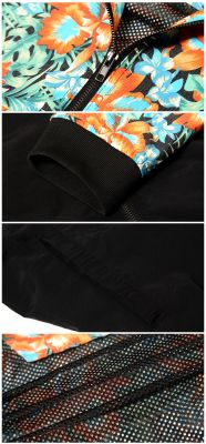 Windsheeter Jacket #33 Heybig Flower Print Plain Black Halves Wind Coat