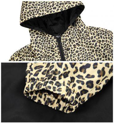 Windsheeter Jacket for Men with Hood Half Leopard Print - Yellow Grey