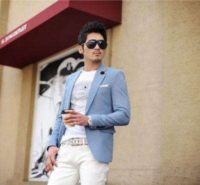 Sky Blue Blazer for Men 1 Button Suit Jacket