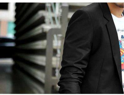 Black Blazer for Men 1 Button Suit Jacket