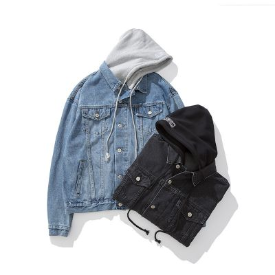 Retro Denim Jacket for men with grey cotton hood