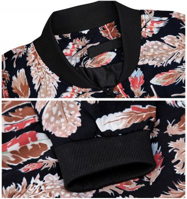 Feather Print Zip Up Vest for Men - Black White
