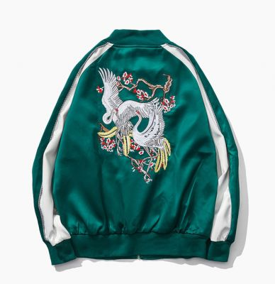 Green satin sports jacket for men with crane embroidery