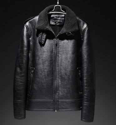 PU leather jacket for men with shearling and fur lining vintage
