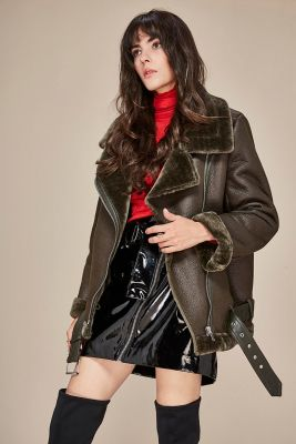 Perfecto imitation leather jacket with inner fur for women