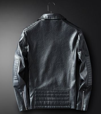 PU leather perfecto biker jacket for men with zipped pockets