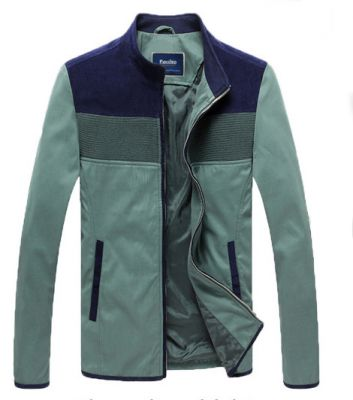 Men's Track Jacket with Chest Color Blocks - Green Navy