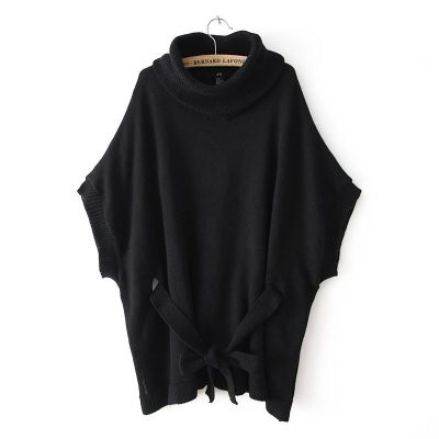Loose fashion jumper for women with large rolled up collar