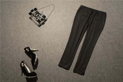 Women's casual pants with a pleats - beige or black
