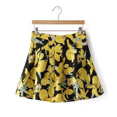 Women's Short skirt with flower print 2014 spring summer trend