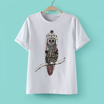 Women's T shirt with Owl Embroidery Design on Front