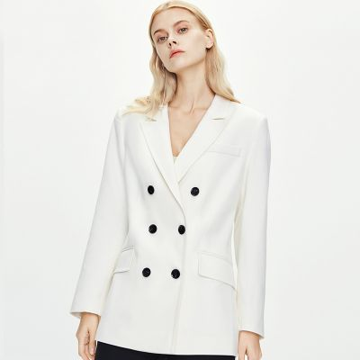 Women's double breasted blazer in solid color