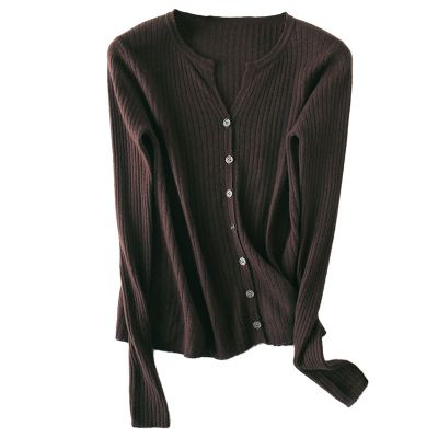 Women's Long Sleeve wool cardigan with buttons