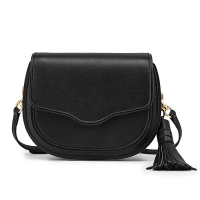 Women tassel saddle bag in genuine leather