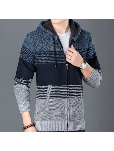 Winter Fur lined wool hoodie for men with stripe variations