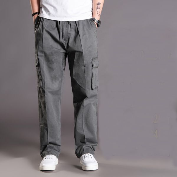 Baggy cotton pants with multiple pockets for men