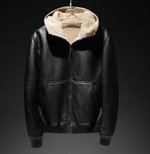 Black Faux leather hoodie jacket for men with fur lining inside