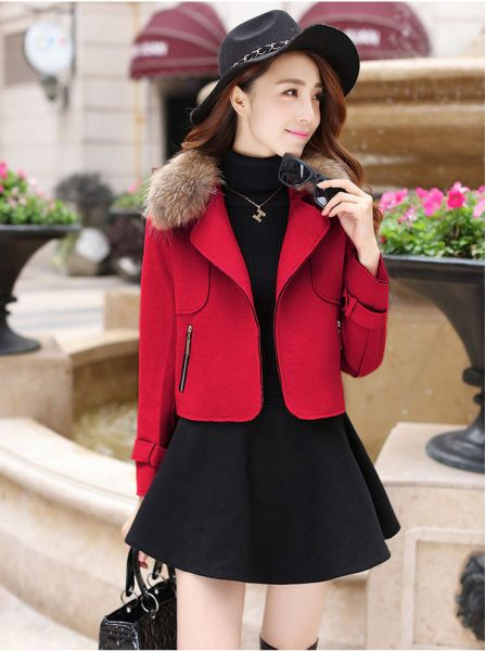 Jacket with fur collar for woman jacket winter