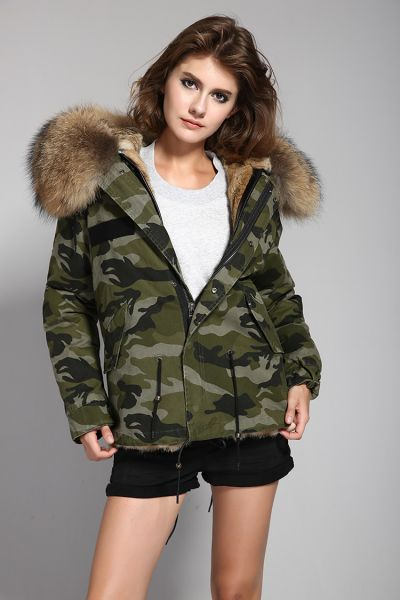 Winter jacket for women with hood fur camouflage