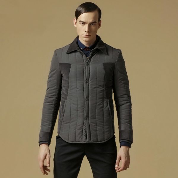 Two tone padded winter jacket for men classic collar