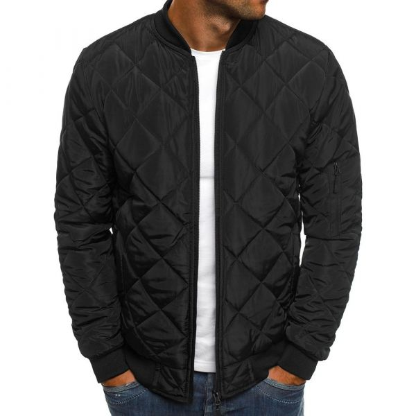 Bomber jacket with stand collar for men