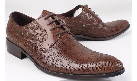 Fantasy Leaf Design Business Dress Shoes for Men - Brown