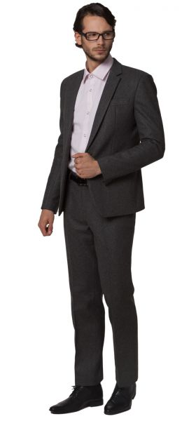 Thick Woolen Business Suit for men classic cut for winter - grey black